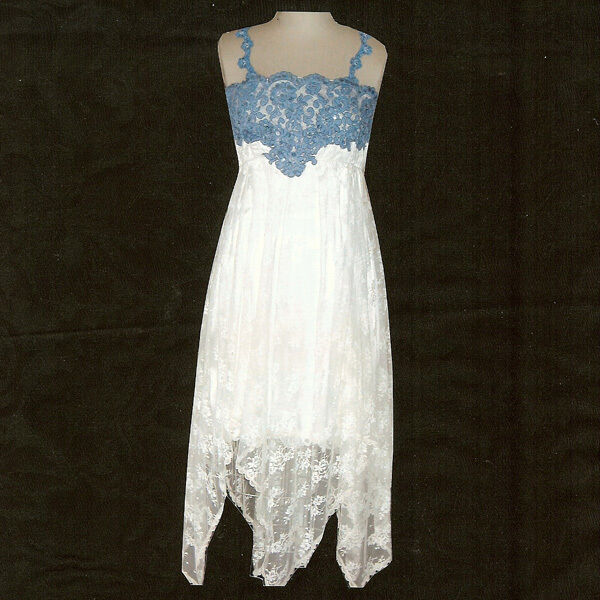 Denim Wedding Gown: Victorian Cowgirl Empire Offwhite And Blue Lace Dress