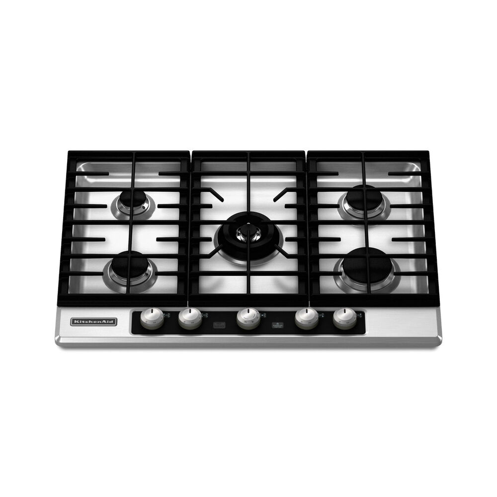 "5 Burner Gas Cooktops: KitchenAid 30"" 5-Burner Gas Cooktop Stainless Steel"