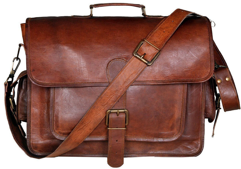 Men S Genuine Vintage Brown Leather Shoulder Messenger