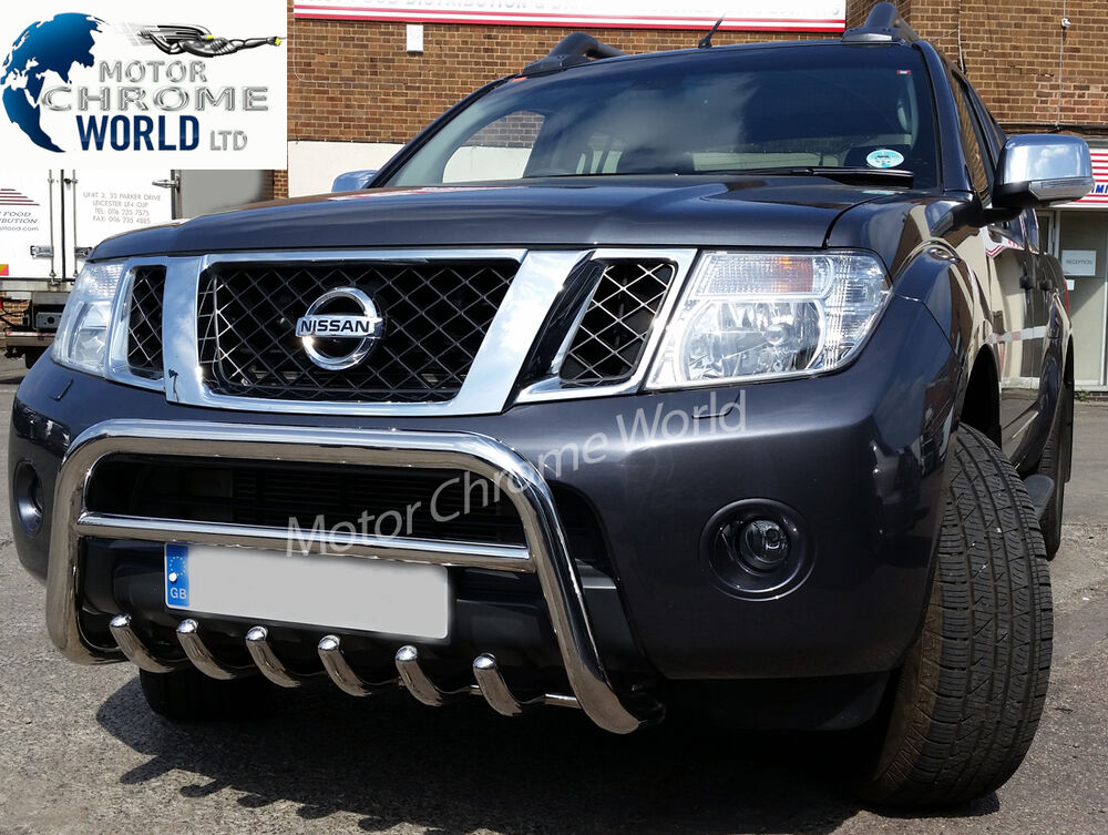 nissan navara pathfinder d40 bull bar chrome axle nudge a bar 2010 up on offer ebay. Black Bedroom Furniture Sets. Home Design Ideas