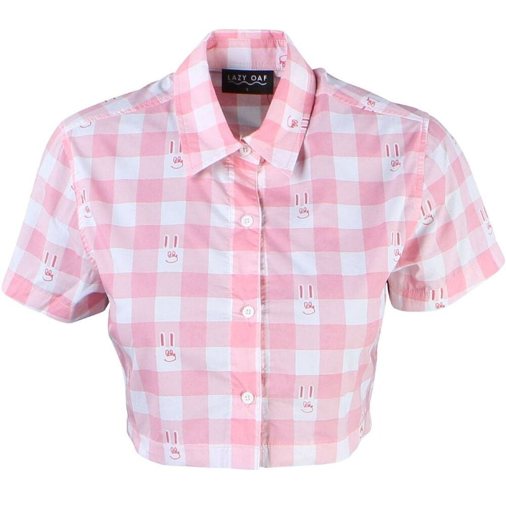 lazy oaf women bunny gingham shirt pink ebay