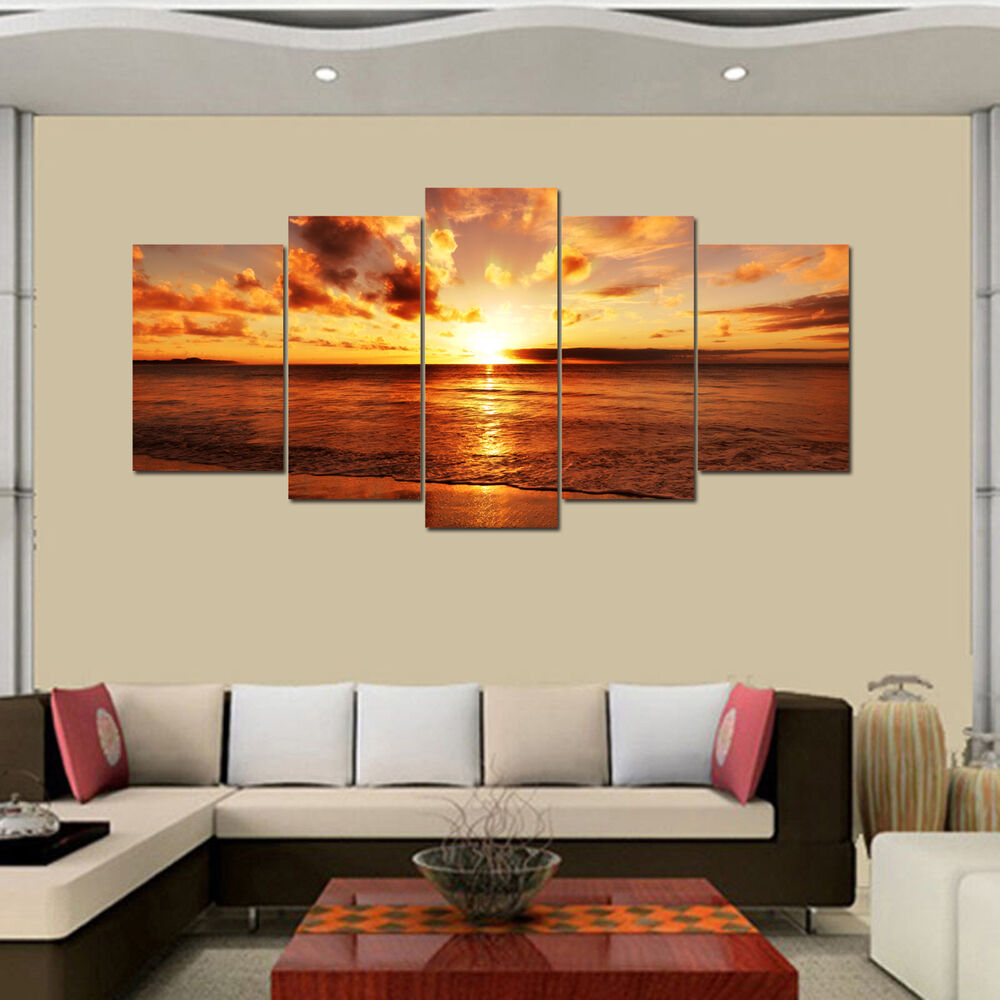 Us ship canvas print wall art painting split sea sunrise Interiors by design canvas art