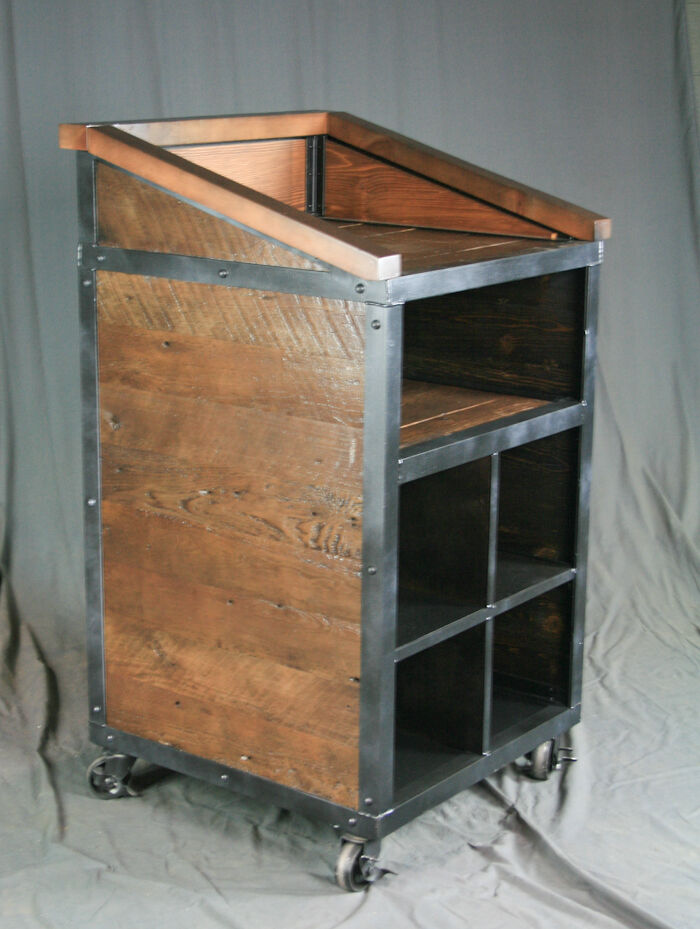 Industrial host stand podium lectern handmade