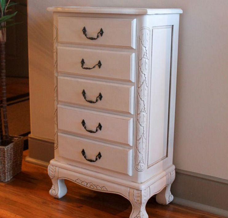 jewelry armoire white dresser stand cabinet lingerie nightstand vintage wooden ebay. Black Bedroom Furniture Sets. Home Design Ideas