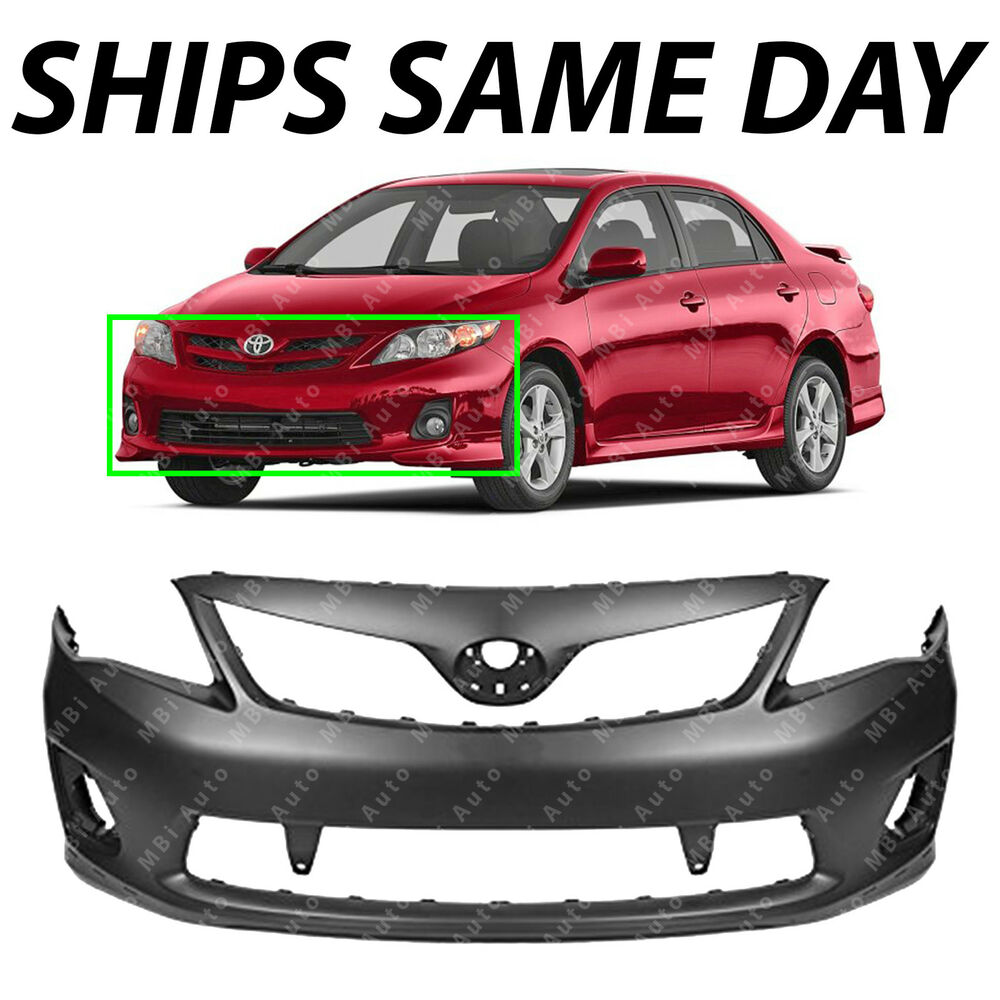 new primered front bumper cover 2011 2012 2013 toyota corolla s xrs to1000373 ebay. Black Bedroom Furniture Sets. Home Design Ideas