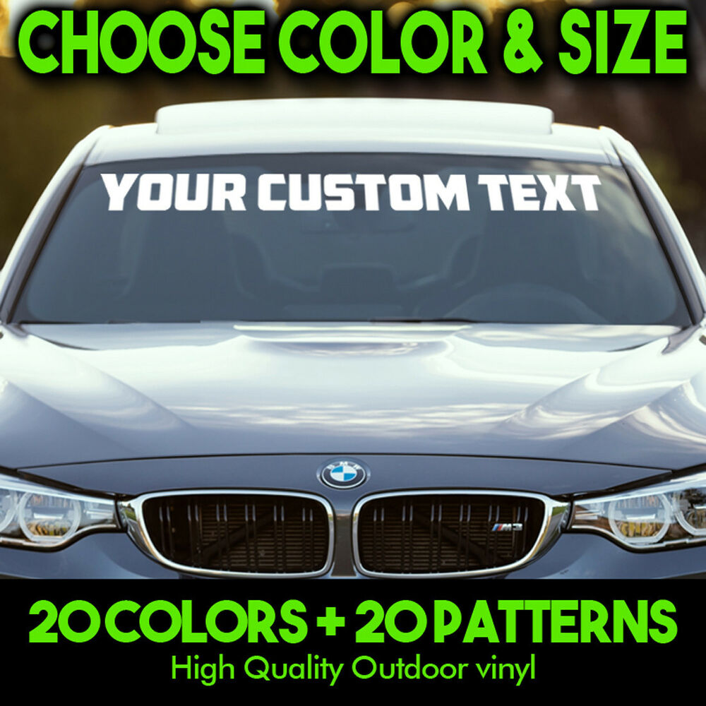 Custom Windshield Text Lettering Vinyl Decal Sticker