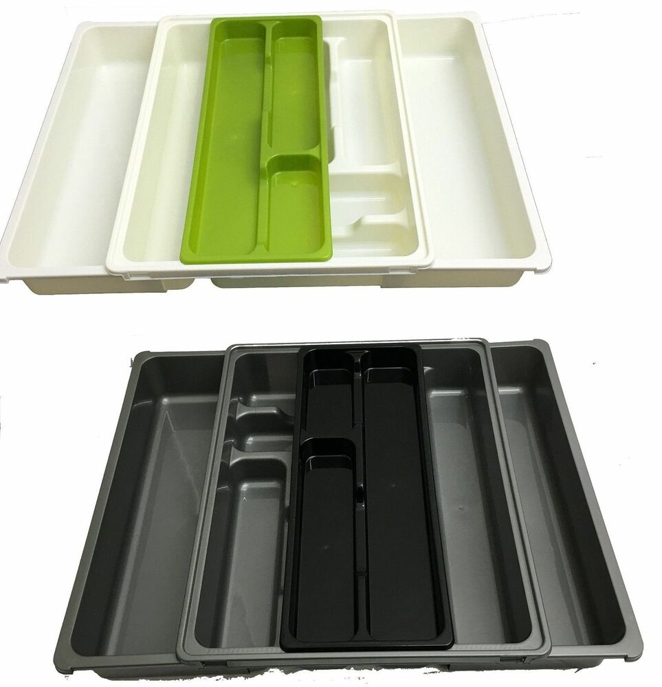 Extendable Adjustable Plastic Cutlery Holder Tray Drawer