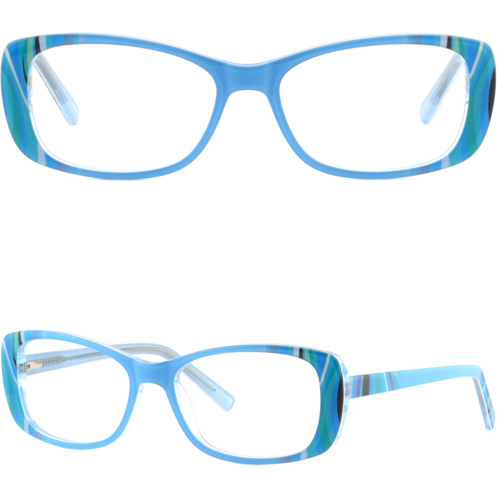 Ladies Blue Frame Glasses : Blue Rectangle Womens Frames Acetate Prescription Glasses ...