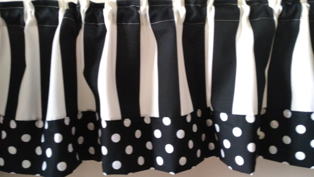 Polka Dot Stripe Black White Custom Handmade Window