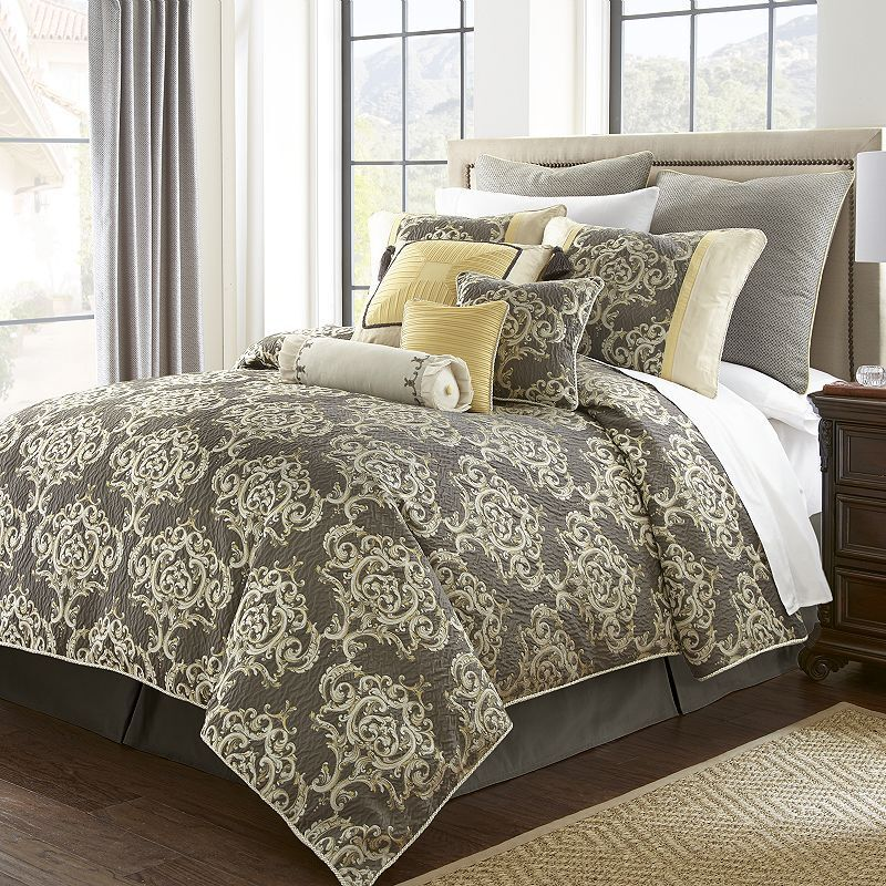 8 Pc Marquis By Waterford Anniston King Comforter Set Gray