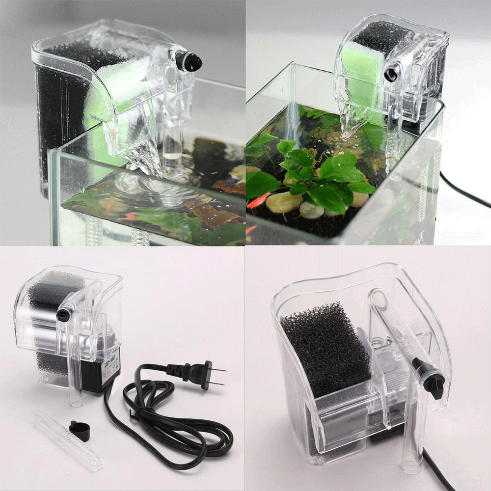 Mini quiet fish tank hang on power filter aquarium for Quiet fish tank filter
