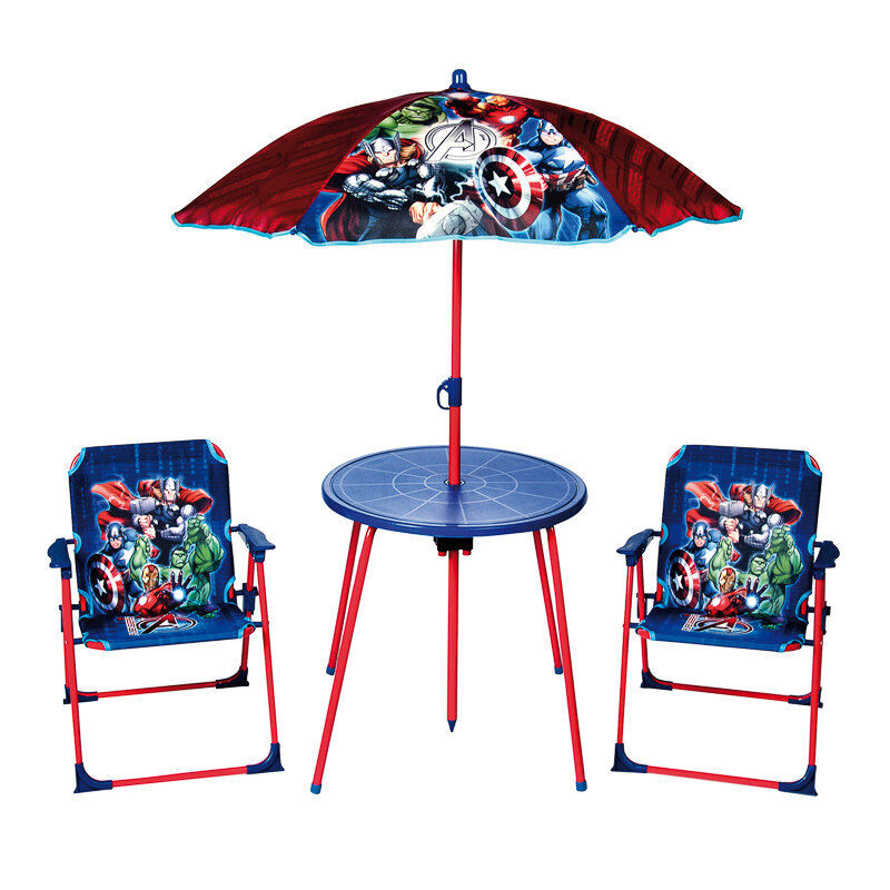 Marvel Avengers Kids Garden Table And Chairs Set Parasol