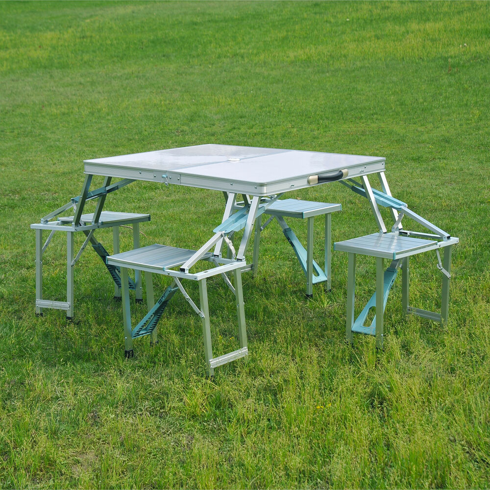Outsunny picnic table outdoor garden furniture aluminum - Camping picnic table and chairs ...
