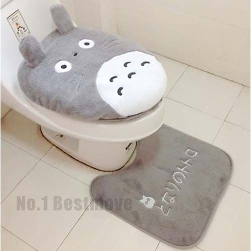 New Cute 3pcs Totoro Toilet Seat Cover Cartoon Bathroom