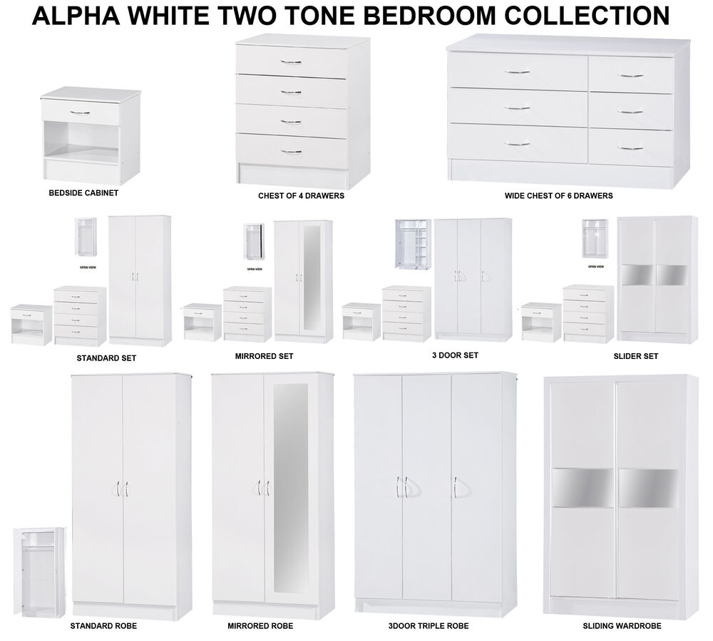 Alpha white high gloss two tone modern bedroom furniture for White high gloss bedroom furniture