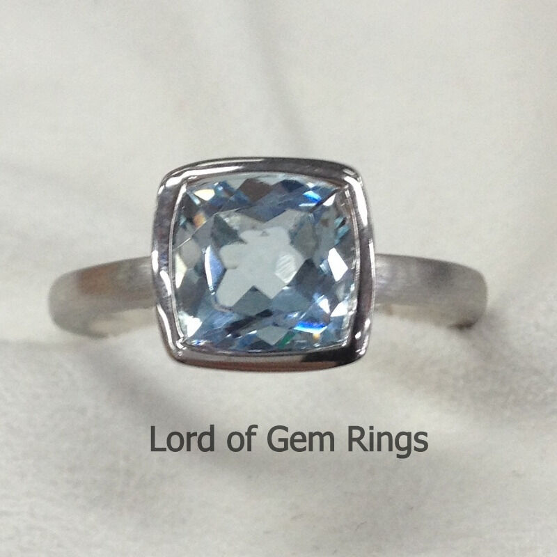 Bezel Set Cushion Cut 7x7mm Aquamarine Engagement Wedding Ring14K White Gold