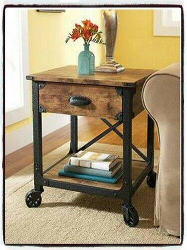 Rustic side end table industrial wood metal living room for Metal living room chairs