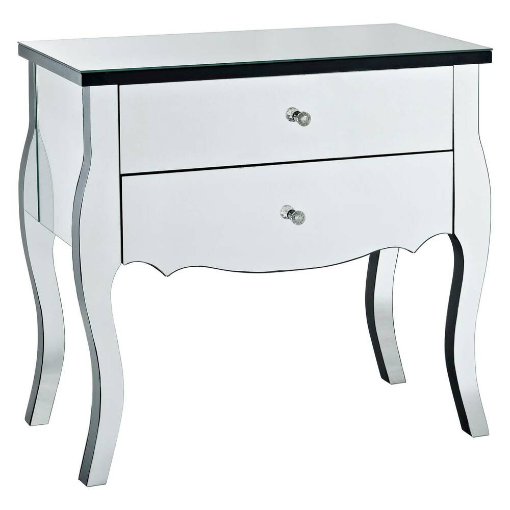 2 drawer mirrored console table powell company ebay for Mirrored console with drawers