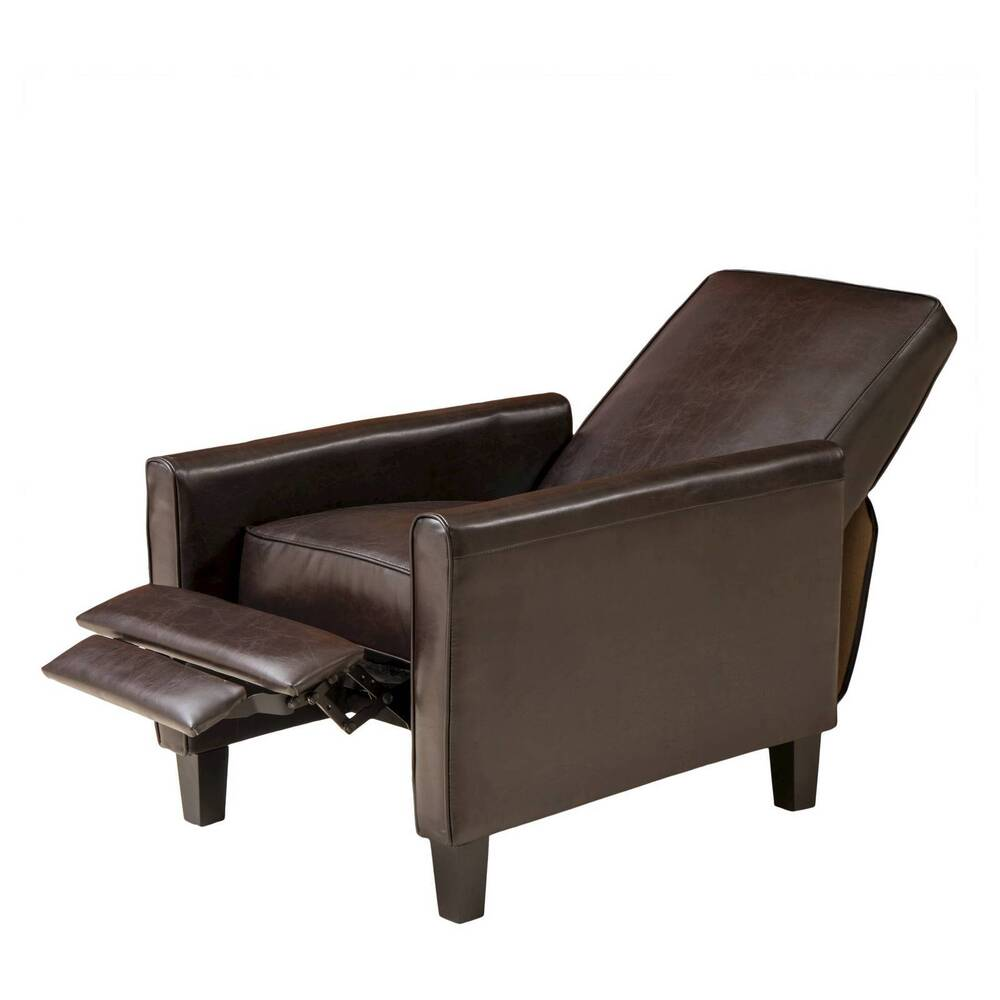 Darvis Leather Recliner Club Chair Brown Christopher