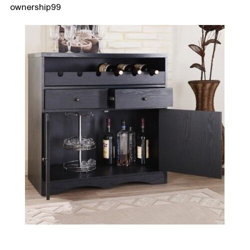 Black Home Bar Furniture: Black Home Bar Pub Furniture Dining Buffet Unit Wine Rack