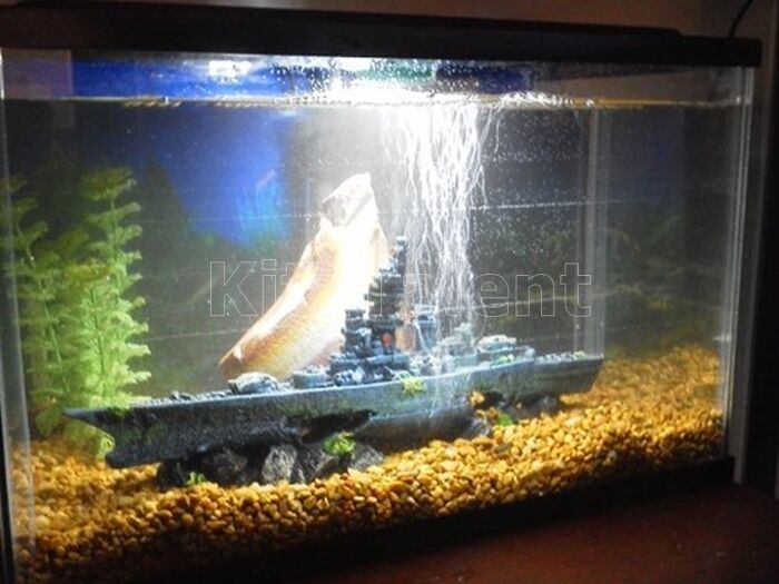 Battleship aquarium ornament fish tank decoration for Aquarium decoration ideas