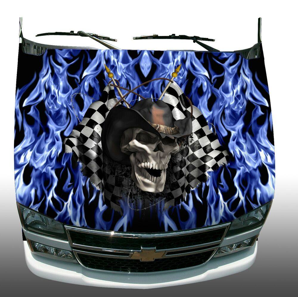 Racing Skull Checkered Flag Blue Flame Fire Hood Wrap