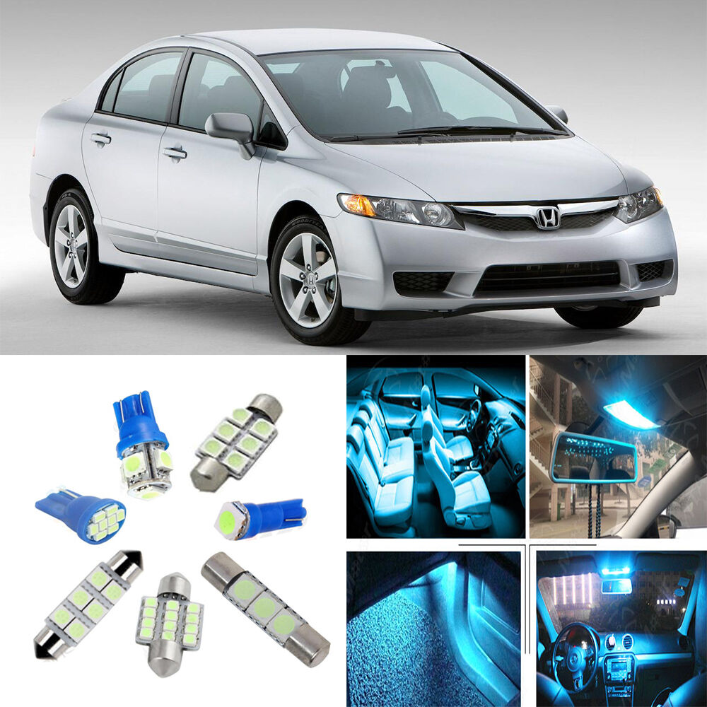 9 ice blue led interior light package kit for honda civic - 2015 honda civic si interior lights ...
