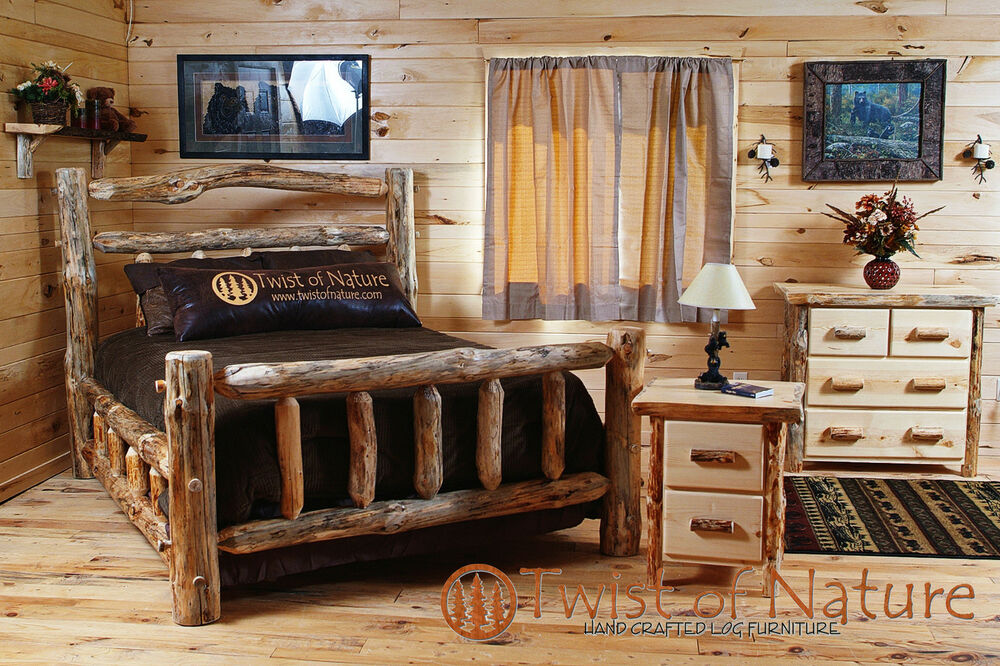 Log Bedroom Set Free Shipping King Size Log Bed Log Furniture LOG BED EBay