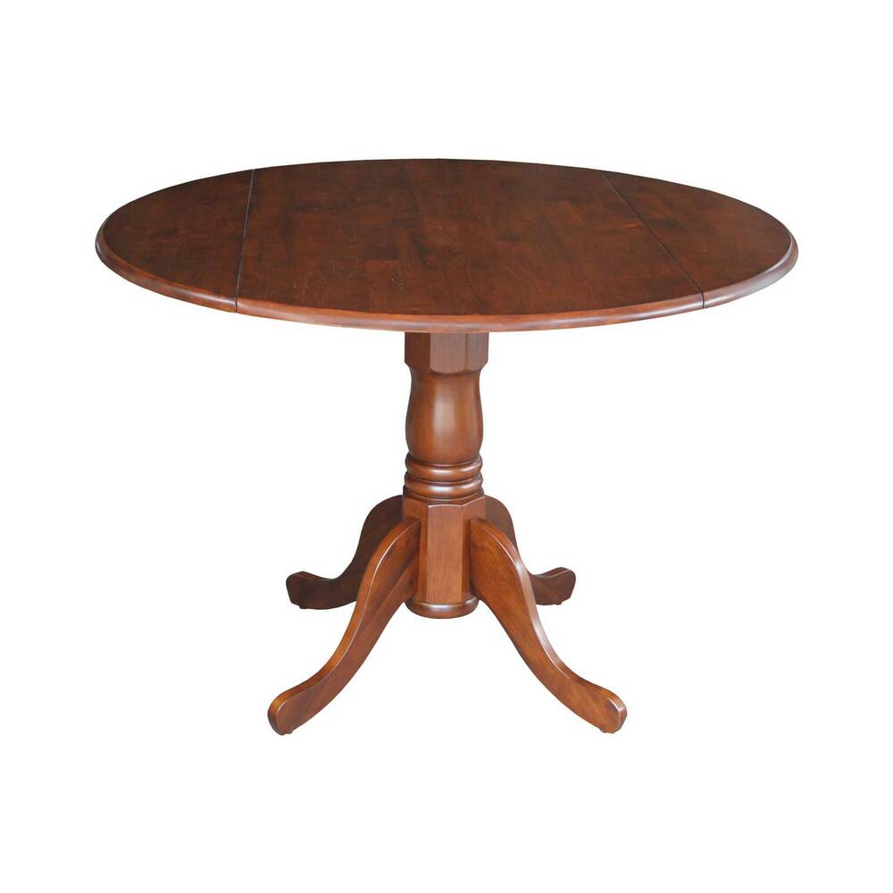 Round drop leaf pedestal dining table wood espresso for Round pedestal table with leaf