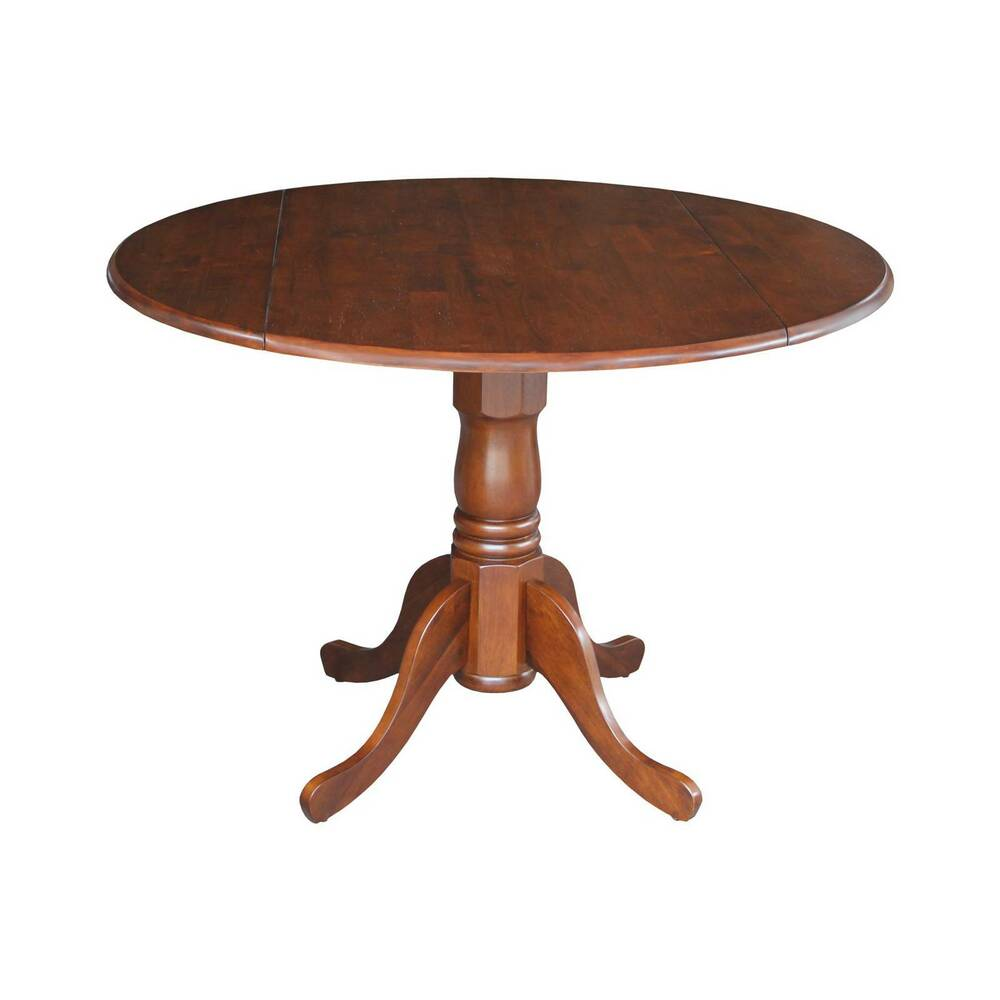 Round drop leaf pedestal dining table wood espresso for Round drop leaf dining table