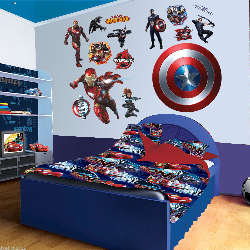 Super hero captain america iron man wall sticker mural pvc for Children s room mural