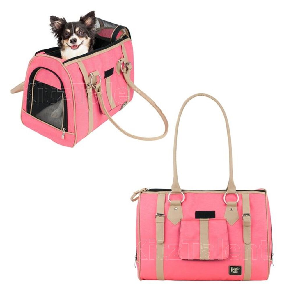 Luxury pet carrier small dog cat soft sided comfort pink - Dog purse carriers designer ...