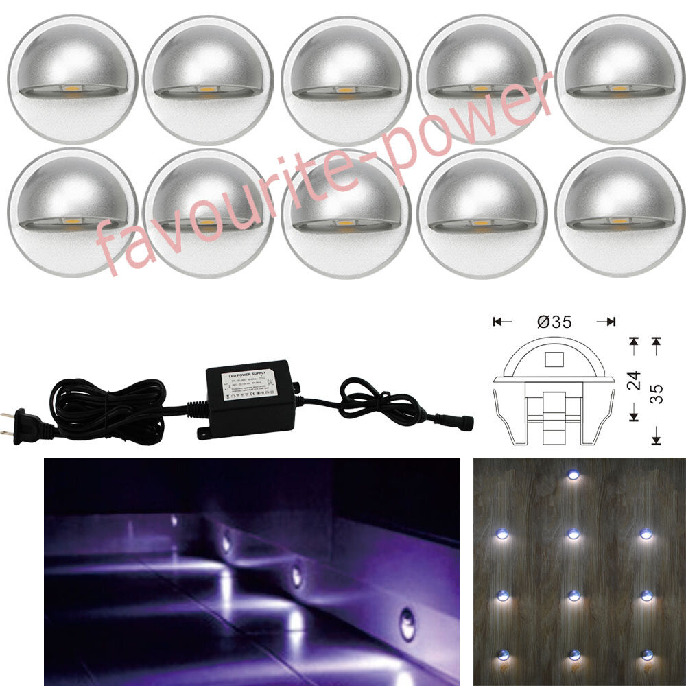 10*35mm Cool White LED Deck Light Half-Moon Outdoor DIY