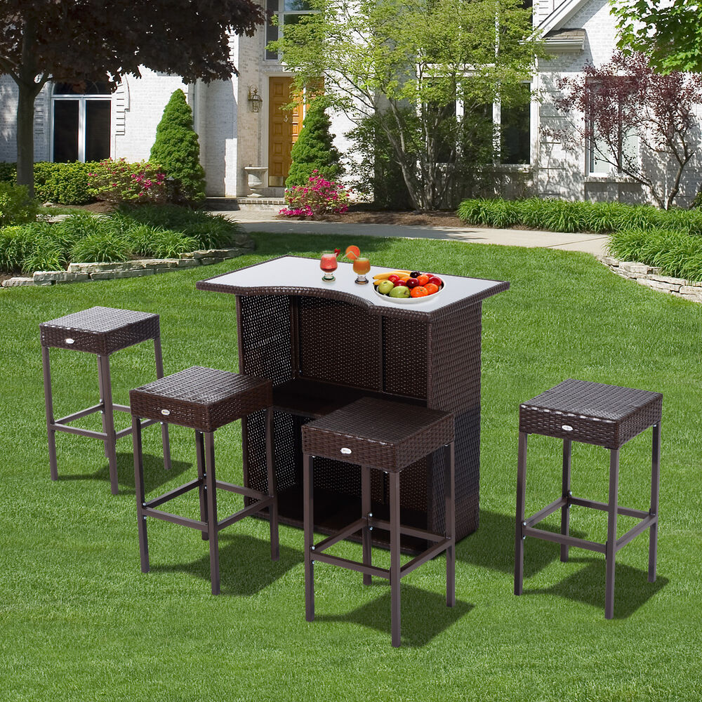 outsunny rattan bar set 5pc dining table barstool outdoor. Black Bedroom Furniture Sets. Home Design Ideas