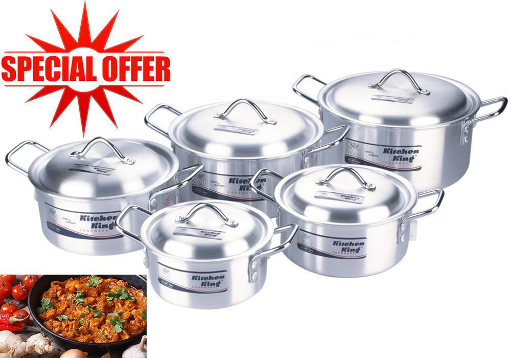 Aluminium 10pc kitchen cooking pan saucepan pot set lid for Kitchen set aluminium royal