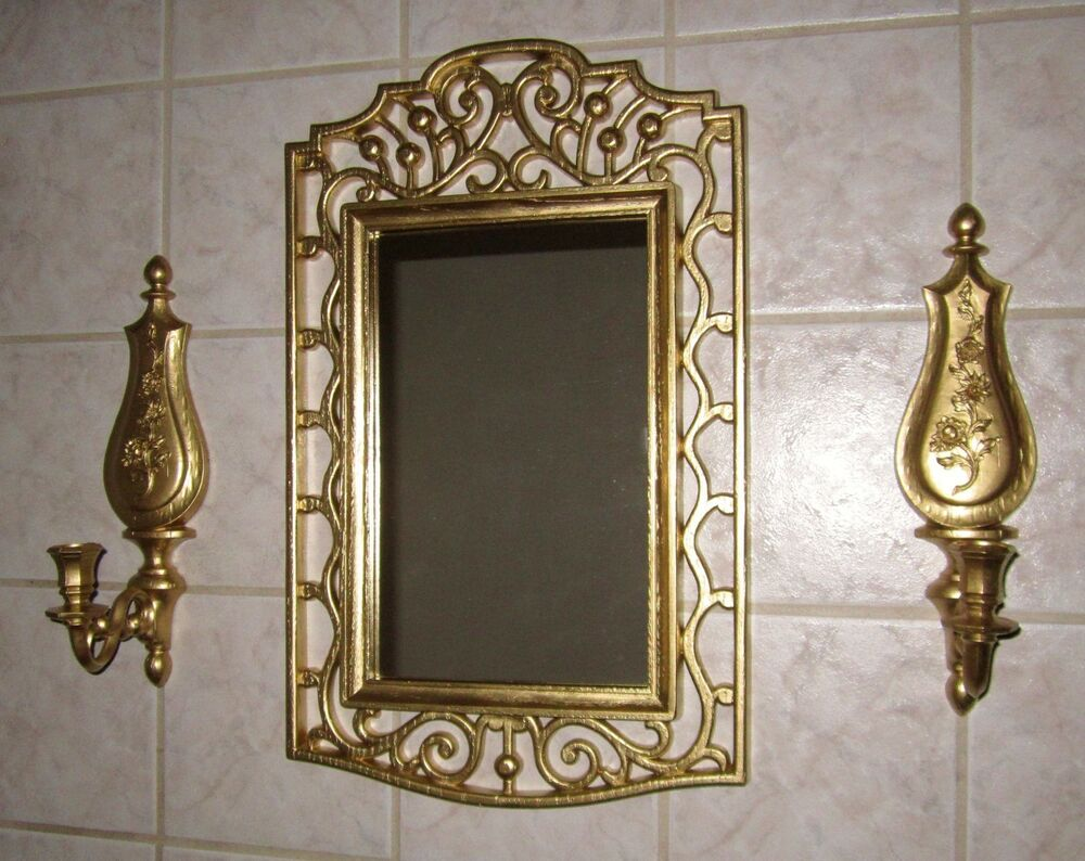 Set Of 3--VINTAGE Homco Dart WALL GOLD FRAMED MIRROR & TWO