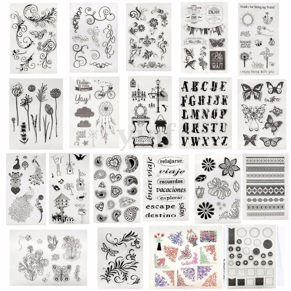Alphabet flower transparent clear rubber stamp sheet cling for Custom craft rubber stamps