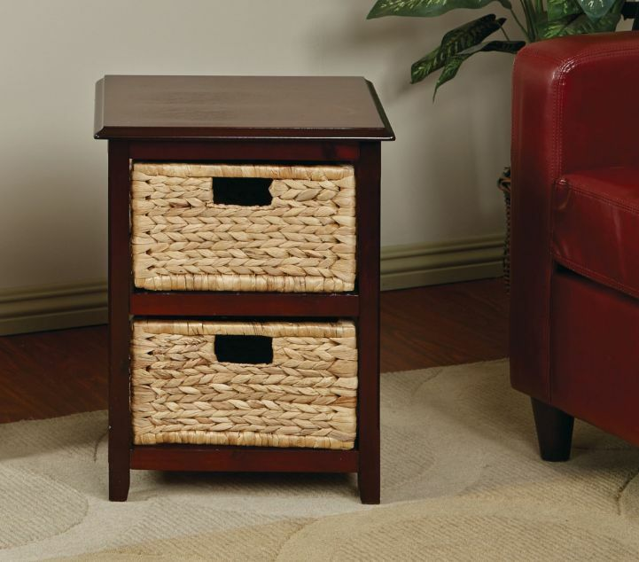 Black One Drawer Nightstand