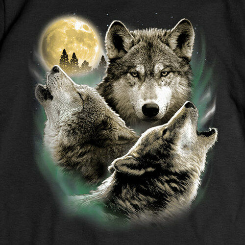 Wolf T-SHIRT Three Wolves Howling Moon Tee NEW Adult ...