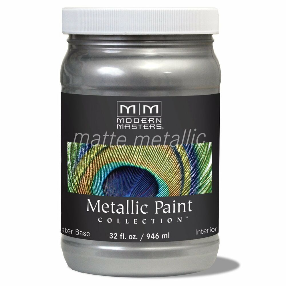 Modern masters matte platinum silver 32 ounce flat for Matte finish paint for walls