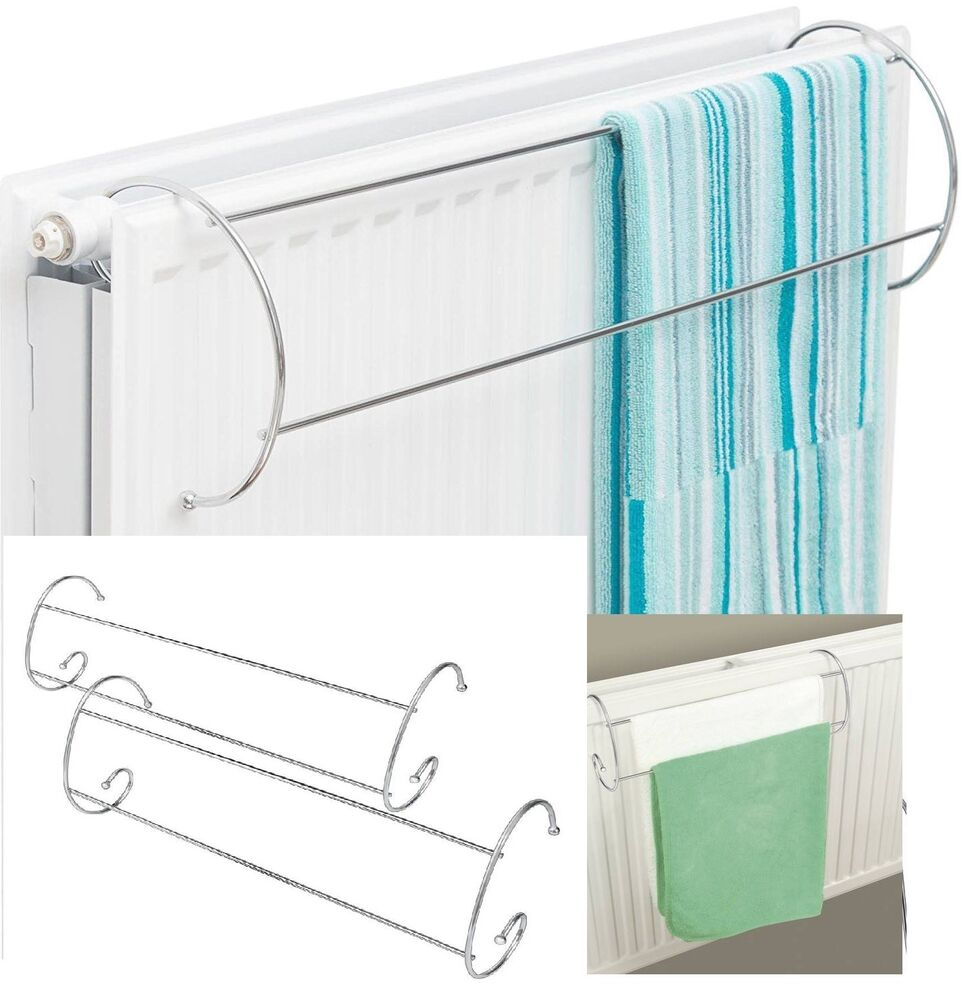 Set of 2 Twin Rail Chrome over Radiator Towel Rail dryer Indoor ...