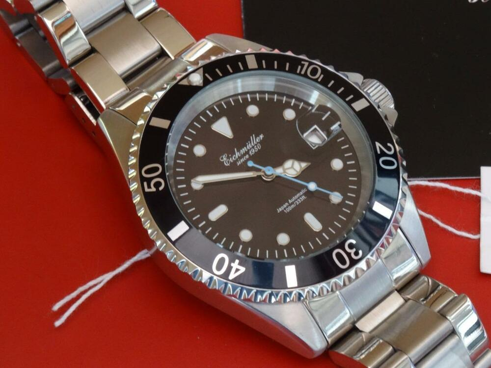 Eichmuller quality automatic submariner black dive diver watch citizen movement ebay for Auto movement watches