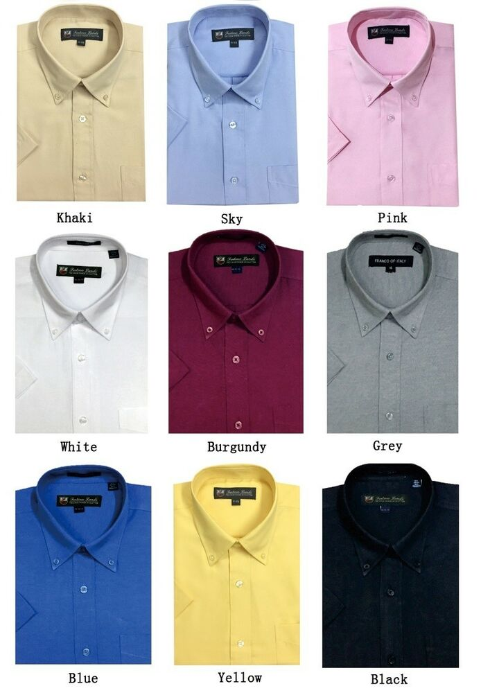 Men 39 s short sleeve button down dress shirts cotton blend for Mens black short sleeve dress shirt