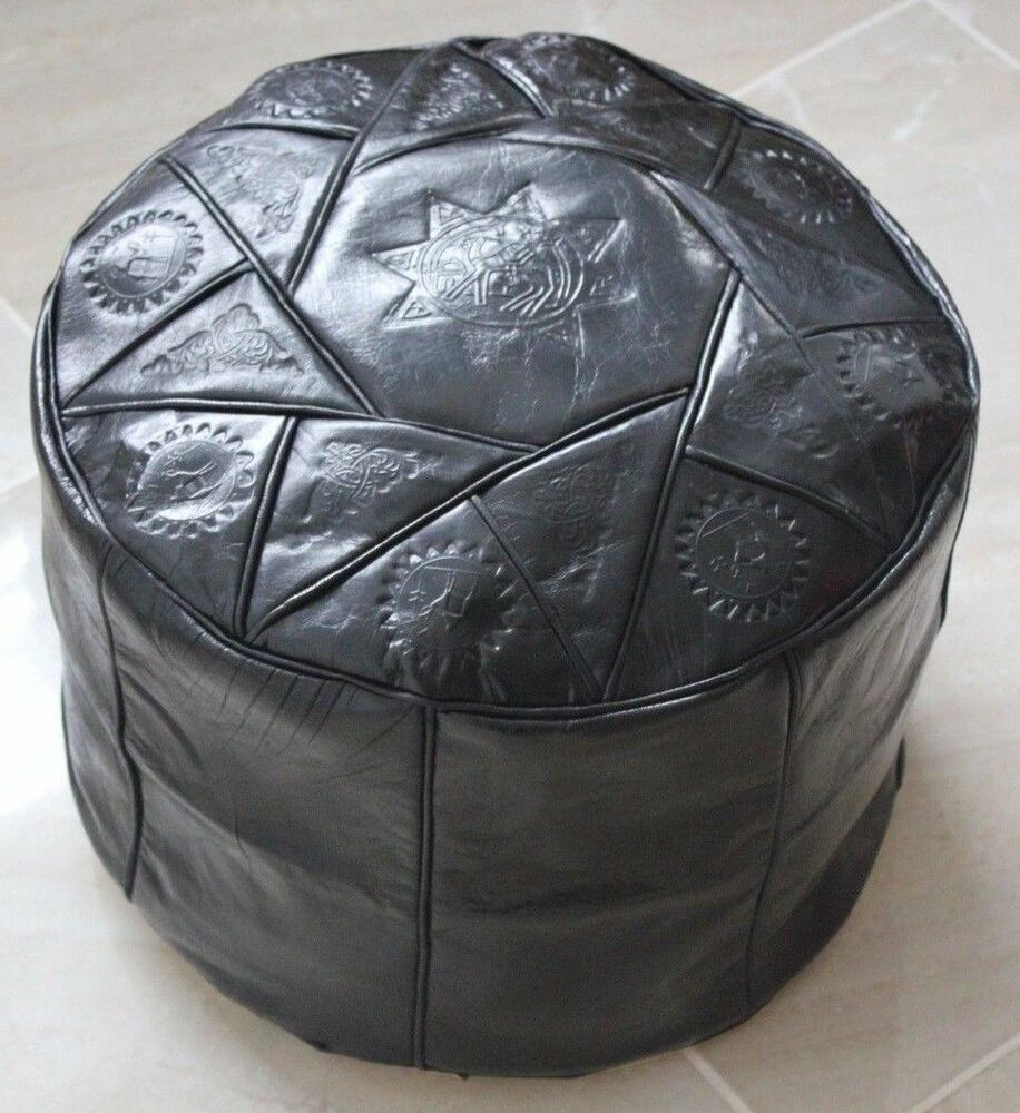 black handmade moroccan pouf genuine leather pouffe. Black Bedroom Furniture Sets. Home Design Ideas