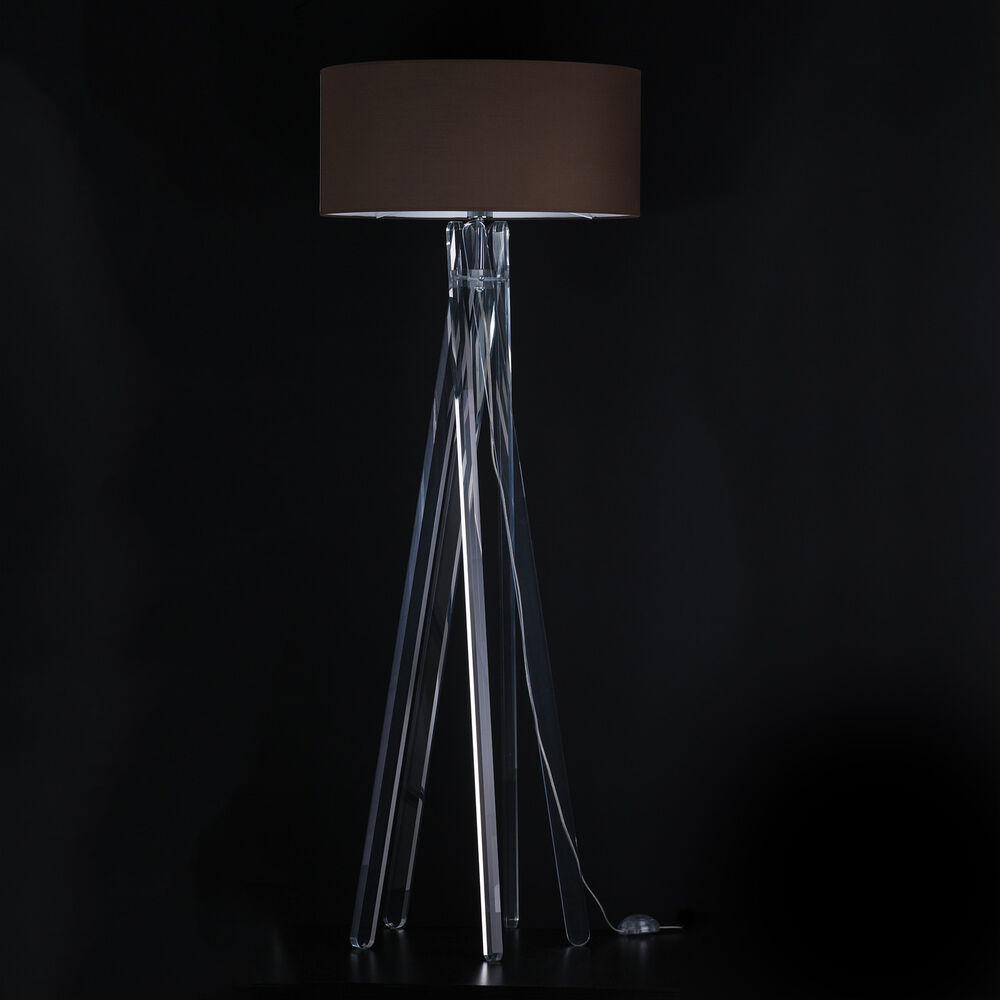 design stehlampe tripod leuchte plexiglas lampe h 160cm. Black Bedroom Furniture Sets. Home Design Ideas