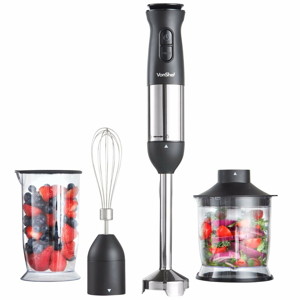 vonshef hand blender 800w food mixer processor whisk handheld 3 in 1 black ebay. Black Bedroom Furniture Sets. Home Design Ideas