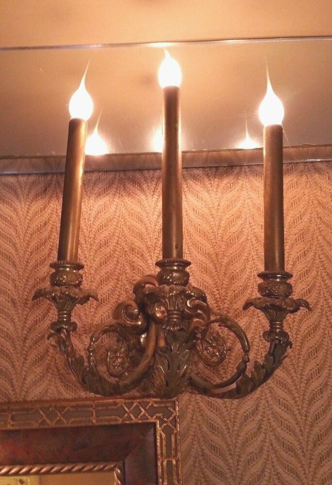 Solid Brass Electric Wall Sconce 3 Arm Lights - Vintage Rare Tall eBay