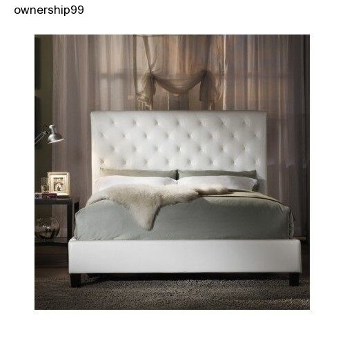 White Leather Bedroom Set: White Bonded Leather Bed Queen Size Platform Headboard