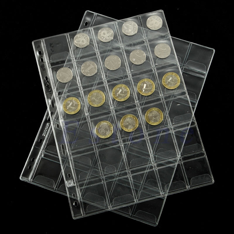 1 Pages 30 Pockets Classic Coin Holders Sheets For Storage