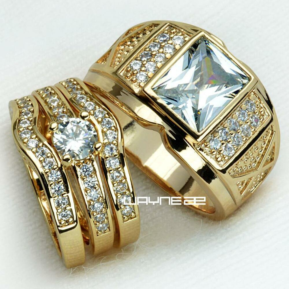 Wedding Rings For Him: Couples Engagement Rings For Him And Her Set Gold Filled